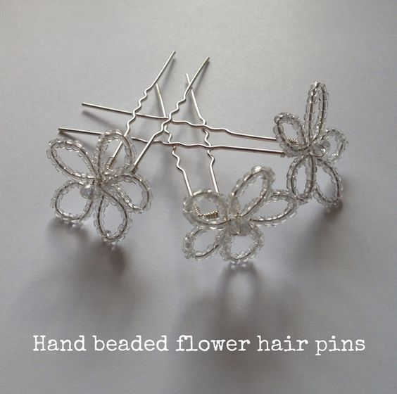 DIY Tutorial: Hand-beaded Flower Hair Pins   The bride ...