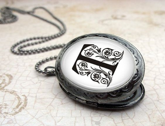 Personalized Locket - Monogram Pendant Necklace - Gunmetal Locket with Matching Chain