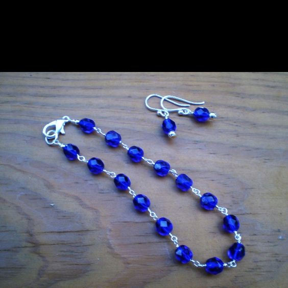 KY Blue Czech Bead Bracelet and Earrings with Silver Plated Findings.