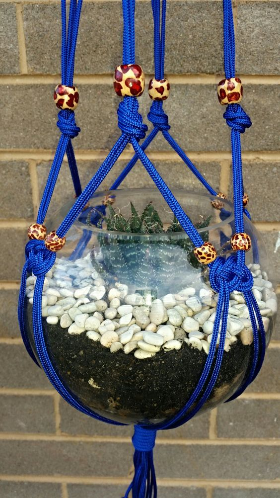 Electric Blue Macramé Hanger with Leopard Print Wooden Beads by SkullHangers on Etsy