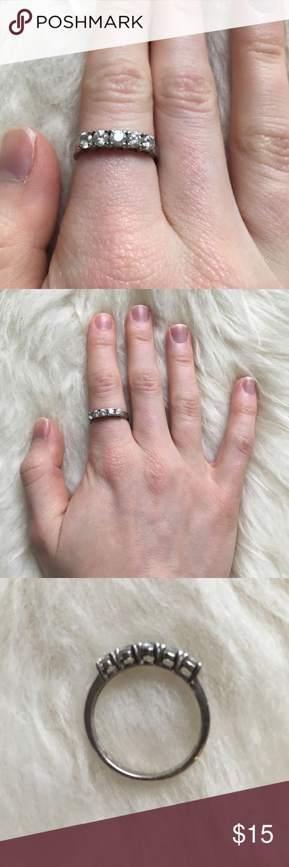 Sterling silver and 5 stone ring   Sterling silver rings, Silver ...