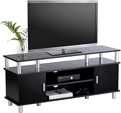 Munich Wooden Tv Stand In Black Glass Top With Drawers And Shelf