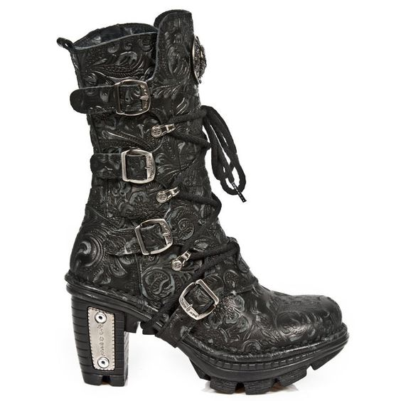 New Rock NEOTR005-S25 Vintage Floral Black Gothic Rock Punk Ladies Leather Boots #NewRock #BOOTS