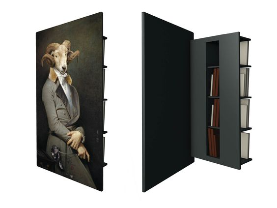 Pull back this surreal (but tres majestic) ram portrait to reveal a full set of hidden bookshelves.