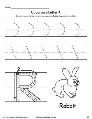 Uppercase Letter R Pre-Writing Practice Worksheet