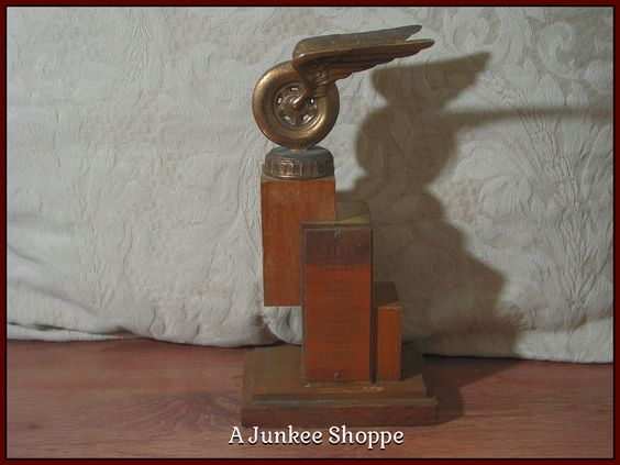 WINGED WHEEL 1957 County Fair Automobile 2nd Place Car Racing Trophy   Junk0915  http://ajunkeeshoppe.blogspot.com/