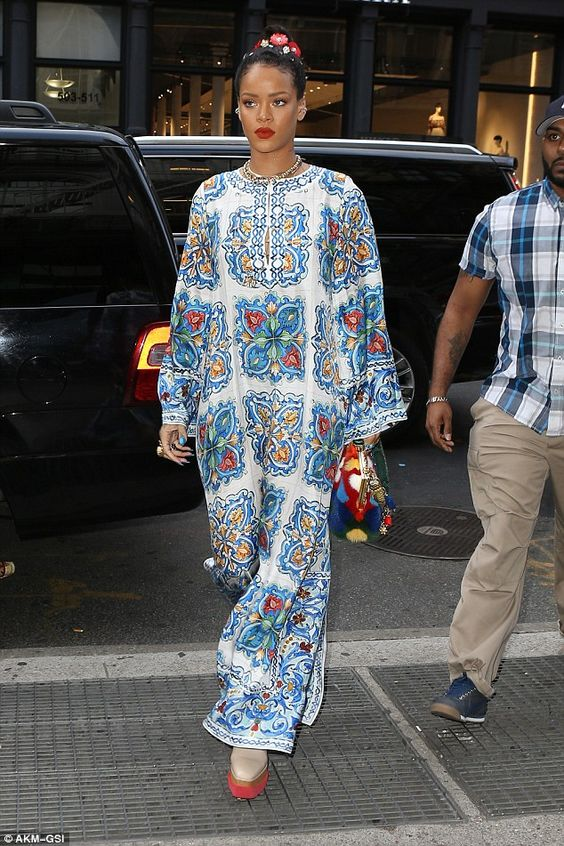 Unique outfit: Rihanna emerged for some shopping and then dinner in NYC on Sunday while we...