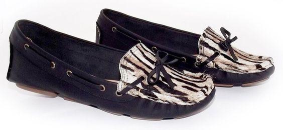 Sapato Mocassim Preto-Tigrado