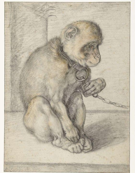 Een zittende aap aan een ketting, Hendrick Goltzius, 1592 - 1602