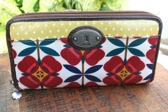 FOSSIL Coated  Multi Color LEATHER Floral Print  KEYPER WALLET in Clothing, Shoes & Accessories, Women's Accessories, Wallets | eBay