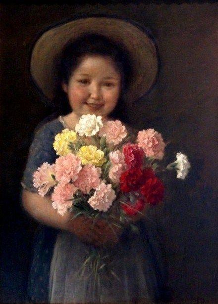 Mädchen mit einem Blumenstrauß der Blumen