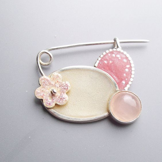 Fiona Chapman - Pink Brooch (silver, resin, mother of pearl, rose quartz, enamel)