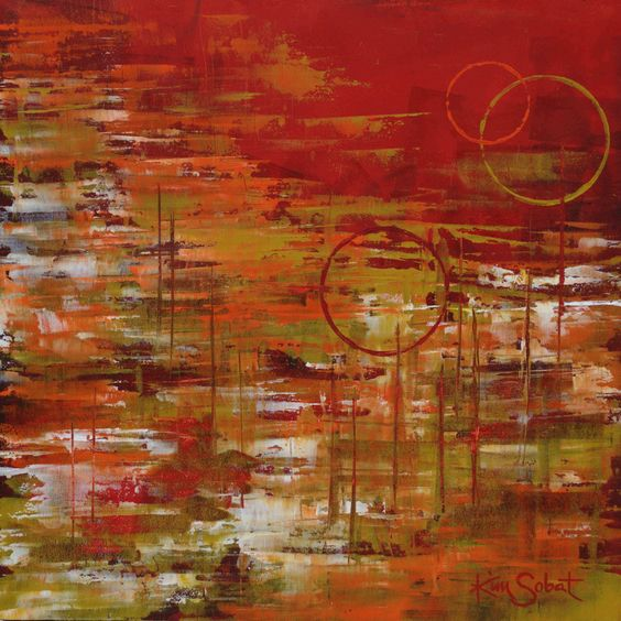 """""""Sticks and Stones"""" is a 18""""x18"""" abstract oil/cold wax painting by Kim Sobat www.kimsobat.com"""