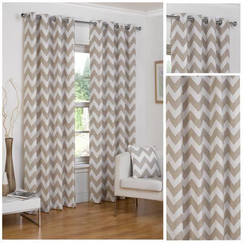 Chevron Natural Eyelet/Ringtop Half Panama Fully Lined Curtains By Hamilton McBride - 4 Your Home