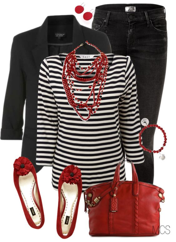 """Red and Black"" Black blazer Black Jeans Red ballet flats Red leather purse Black and white stripes Red multi strand necklace  Red bracelet  Red earrings:"