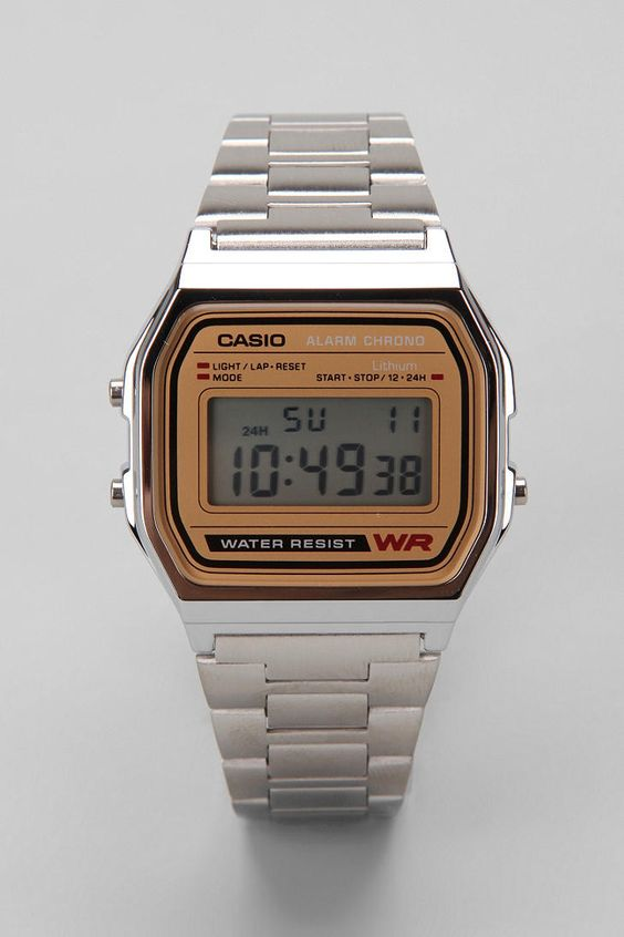 Casio Chrome & Gold Digital Watch.