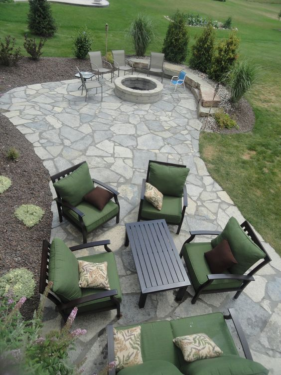 new york blue irregular flagstone patio  design and creation by frank spiker and all natural