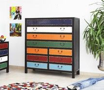 modern patchwork, decorating, furniture, drawer chest
