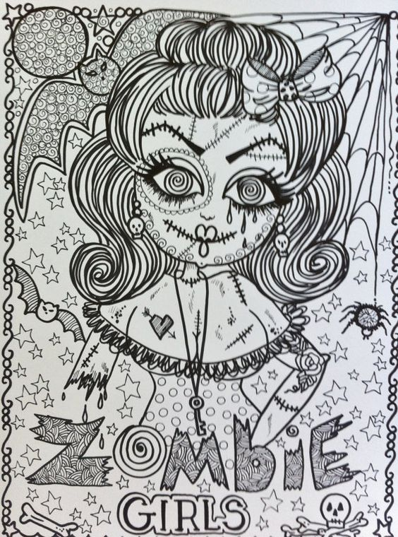 COLORING BOOK ZomBie GiRL Adult Coloring Book for you to ...