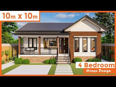10 By 10 Meters 33 By 33 Ft 4 Bedrooms Modern House Design 97 Square Mtr 645 Square Ft Yo In 2020 4 Bedroom House Designs Model House Plan Modern House Design