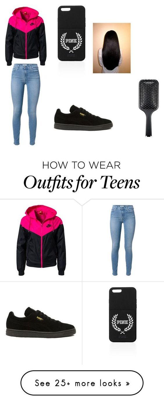 """""""teens only"""" by lordgirlky on Polyvore featuring 7 For All Mankind, NIKE, Puma, GHD, women's clothing, women's fashion, women, female, woman and misses"""