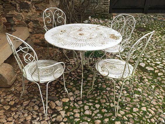 ancien salon de jardin en fer forg httpwwwlesbrocanteurs - Salon De Jardin Mtal Color