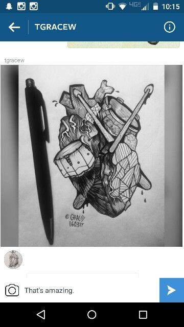 Heart/Drum tattoo sketch