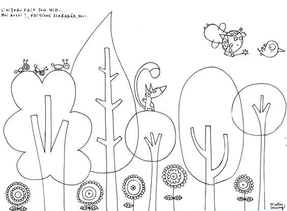 6 feuilles de coloriages de Thomas Gouny - design idea for Montessori trees?