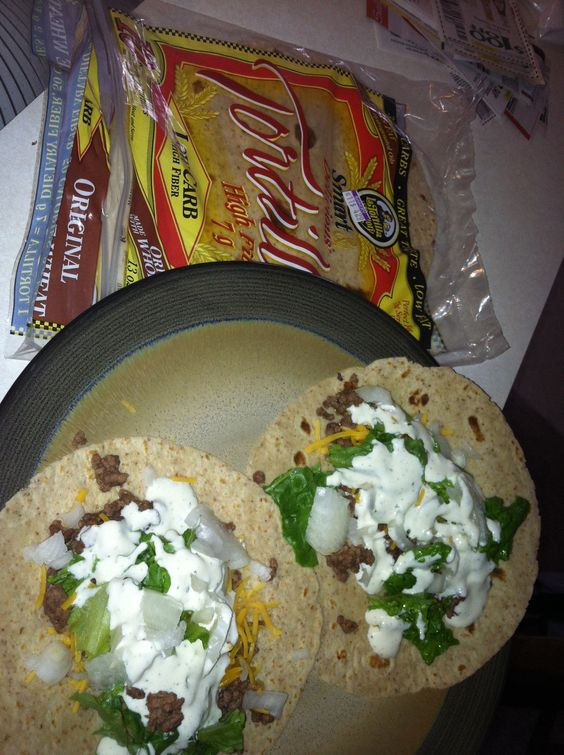 Low carb tacos! Hamburger, cheese, lettuce, onions, tomato, sour cream or ranch dressing