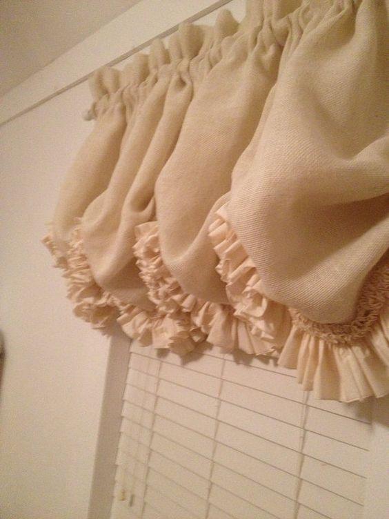 Curtains Ideas cream burlap curtains : Cream Burlap Double Ruffle Balloon Curtain by MimiAndMe2 on Etsy ...