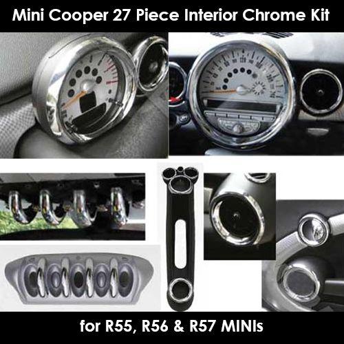 Mini Cooper S Interior Chrome Kit 27 Pieces R55 R56 R57 Mini Cooper Cute Car Accessories Mini Cooper Accessories