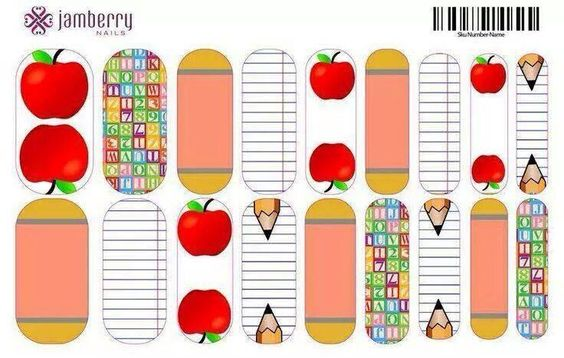 Back to school custom designed nail wraps. Design your own using the nail art studio. Www.kimd.jamberrynails.net/nas