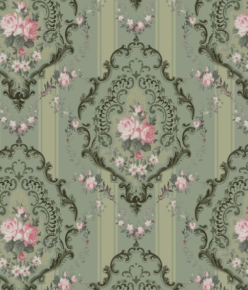 Pink and Pistachio vintage wallpaper. Perfect pistachio for www.maisyandgrace.co.nz.  @Christall Lowe