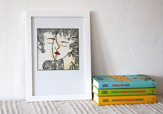 Romantic art print Kiss. Pen and ink drawing. Line by siret