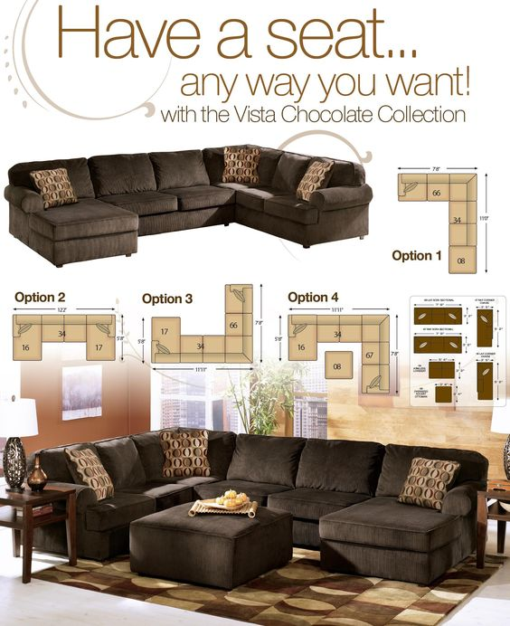 Vista chocolate casual 3 piece sectional with right for Ashley durapella chaise