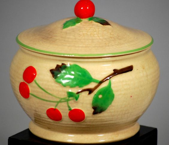 Maruhon Ware Covered  Dish  Cherry Design 1920s Made in Japan