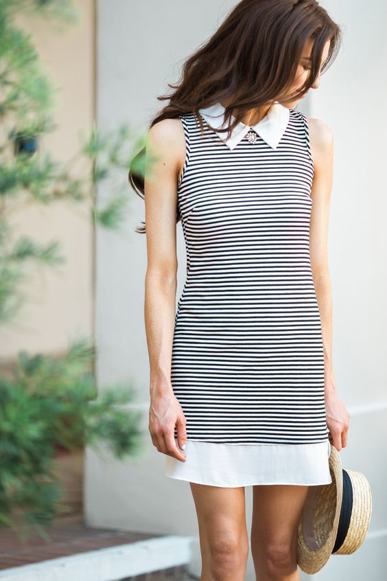 Black and White Striped Collared Dress, Cute Dresses for Women, Black and White Dresses