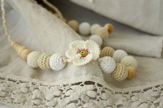 White Poppy crochet mommy necklace - white, cream, beige - baby shower gift, teething toy, eco friendly jewelry. $27.00, via Etsy.