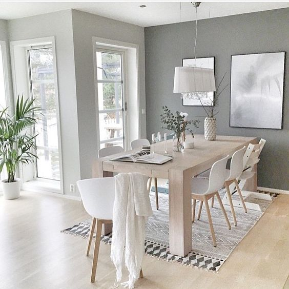 A Gray Minimalist Scandinavian Dining Room Gets Recreated For Less By Copycatchic Luxe Living For Less Modern Dining Room Dining Room Decor Dining Room Design
