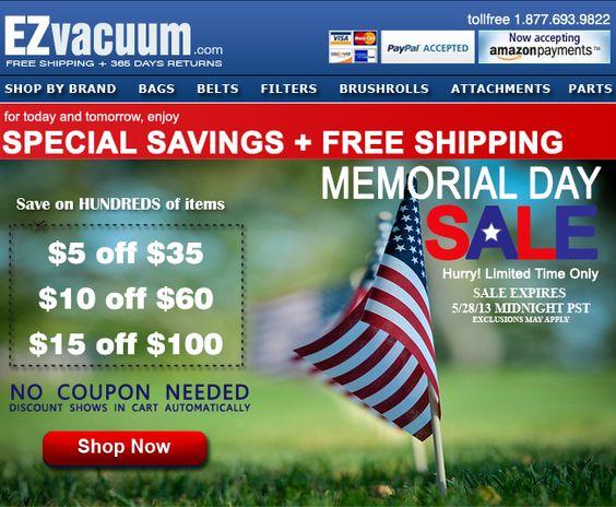 Memorial Day Sale On Vacuum Bags Belts  Filters plus Free Shipping at EZvacuum.com