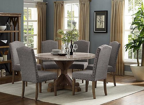 Vesper 7 Pc Round Dining Set Dining Table Marble Marble Top