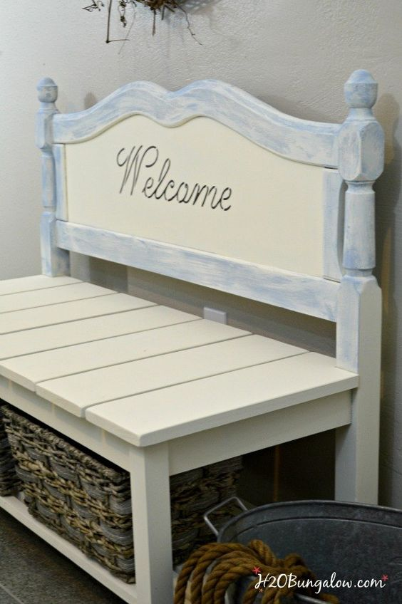 Diy twin headboard bench with storage storage ideas for Furniture upcycling course