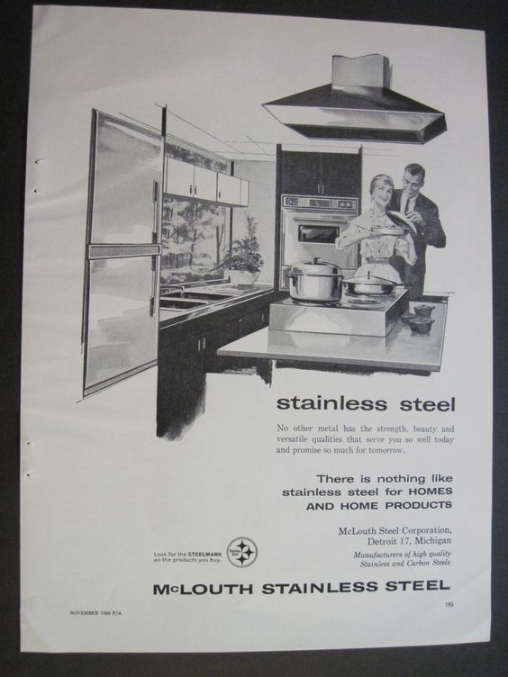 Kitchen Decor modern stainless steel happy by VintageAllianceAds, $5.95