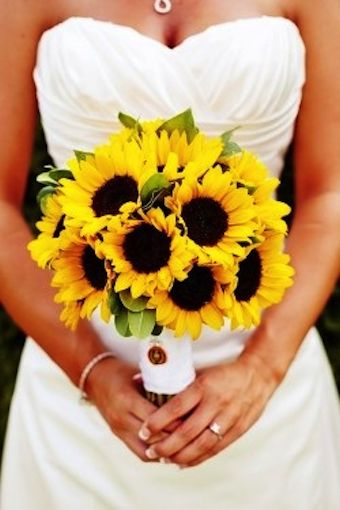 Sunflowers are a beautiful, eye-catching choice for wedding bouquets and arrangements.  Large and petite sunflowers are available year-round at GrowersBox.com!: Wedding Ideas, Wedding Sunflower, Sun Flower, Sunflower Wedding Bouquet, Dream Wedding, Favorite Flower, Sunflower Bouquets
