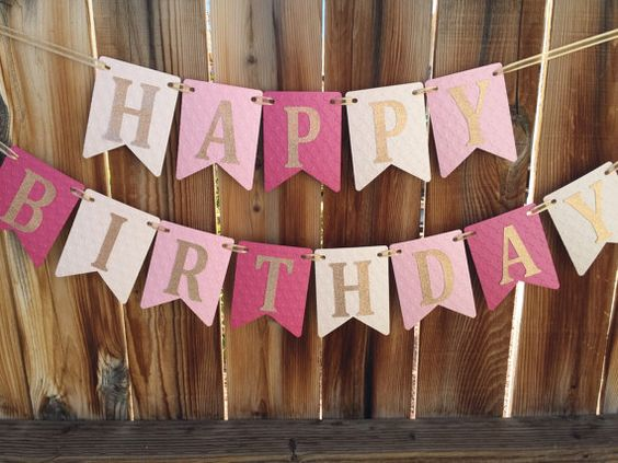 This listing is for a heart embossed pink ombre Happy Birthday banner with gold glitter letters.  ********** DIMENSIONS HAPPY - 20 without ribbon BIRTHDAY - 32 without ribbon  ********** ADD A NAME Add a name starting at $5; select the number of letters in the name when adding this banner to your cart.  ********** The coordinating ONE banner can be found by clicking this link: https://www.etsy.com/listing/293962627/pink-and-gold-birthday-banner-happy?ref=shop_home_active_1  ********** WHEN…