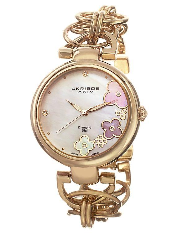 Women's Gold & Flower Dial Watch by Akribos XXIV
