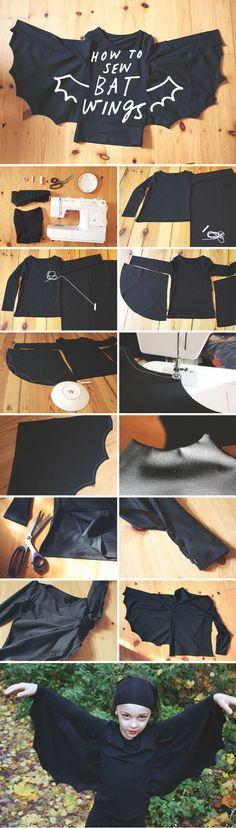 Cómo coser unas alas de murciélago en una camiseta... Ideal para Halloween!!!