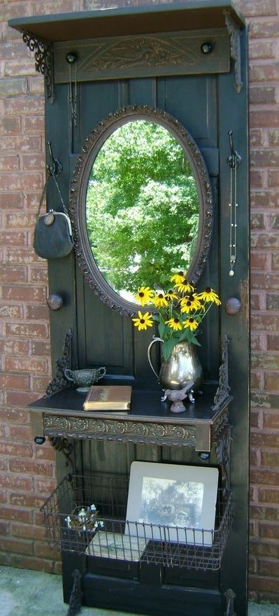 Re purpose Old Door Idea. Perfect for an entry way: