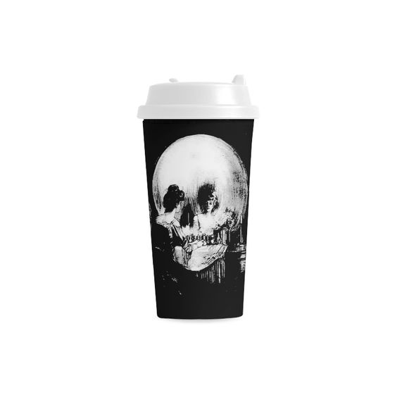 Woman with Halloween Skull Reflection In Mirror is an optical illusion of a woman, mirror and skull. Perfect for goths, rockers and Halloween All Is Vanity #Halloween Life, #Death, and Existence Double Wall #Plastic #Mug   ID: D757817 http://www.artsadd.com/shop/all_is_vanity_halloween_life_death_and_existence_double_wall_plastic_mug-757817.html