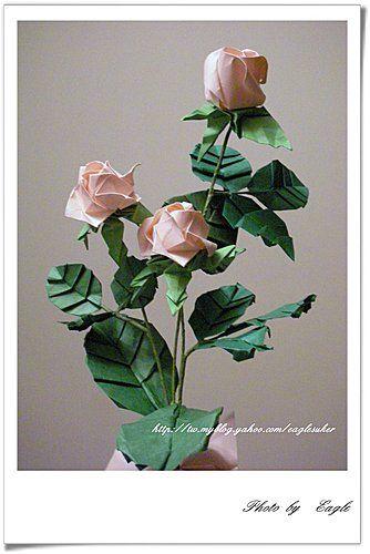 Eagle 摺紙: 摺紙教學  玫瑰花 rose、花萼calyx、梗子stem、葉子leaf ***